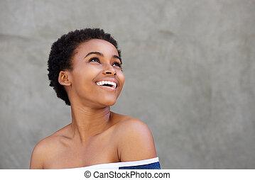szépség, portré, közül, fiatal, african american woman, mosolygós