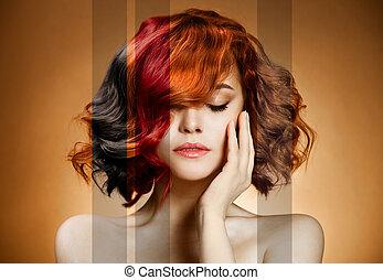 szépség, portrait., fogalom, színezés, haj