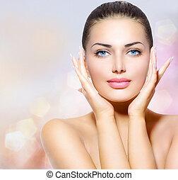 szépség, portrait., gyönyörű, ásványvízforrás, nő, megható, neki, arc