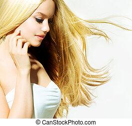 szépség, portrait., gyönyörű, kisasszony, megható, neki, arc
