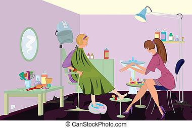 szépség salon, ügyfél, van, kinyerés, lábápolás