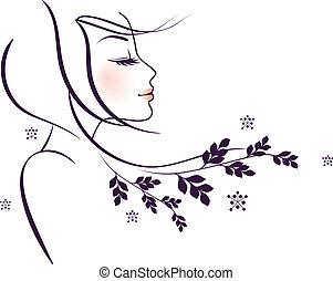 szépség, virágos, nő