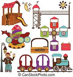 szín, állhatatos, liget, szórakozás, gyerekek