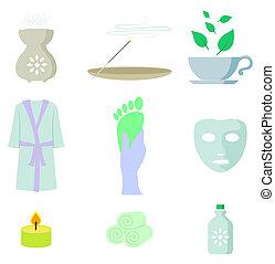 szín, ásványvízforrás, állhatatos, ikon