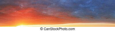 szín, ég, háttér, -ban, napnyugta, -, panoráma