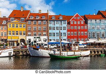 szín, épületek, közül, nyhavn, alatt, copehnagen, dánia