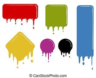 szín, alakzat, csöpögés