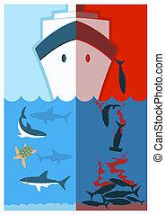 szín, cápa, abbahagy, finning.vector, ábra