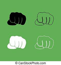 szín, fekete, állhatatos, ikon, ököl, fehér