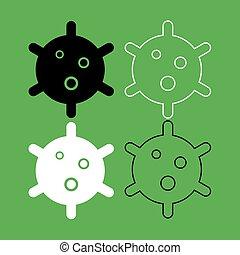 szín, fekete, állhatatos, ikon, vírus, fehér