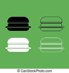 szín, fekete, burger, állhatatos, ikon, fehér