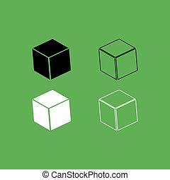 szín, fekete, köb, állhatatos, ikon, fehér