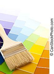 szín, festék, kártya, ecset