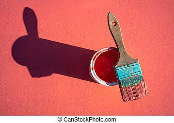 szín, festék, korall, grunge, ecset