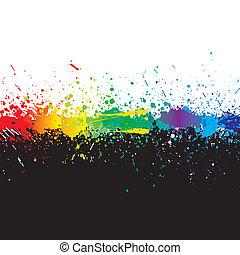 szín, festék, vect, gradiens, splashes.