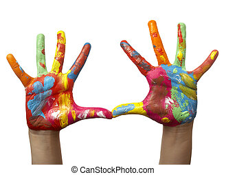 szín, festett, gyermek, kéz