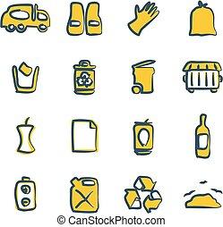 szín, freehand, 2, garbageman, ikonok