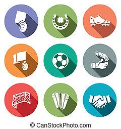 szín, futball, vektor, gyűjtés, ikon