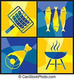 szín, grillsütő, kereszt