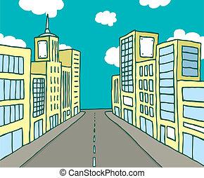 szín, karikatúra, egyenes, város