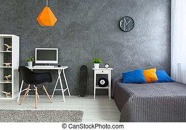 szín, kevés, szürke, szoba