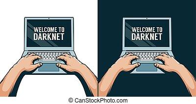 szín, laptop, 3, ábra, kézbesít