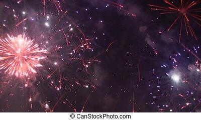 szín, nagy, tűzijáték, természetes