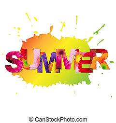 szín, nyár, gerbers, poszter