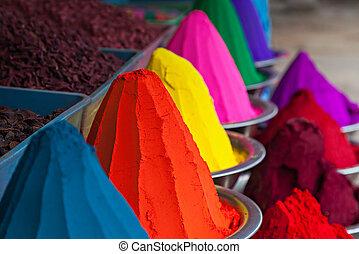 szín, por