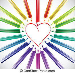 szín, szív, vektor, pencils.