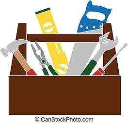 szín, szerszámosláda, szerkesztés, eszközök, ábra