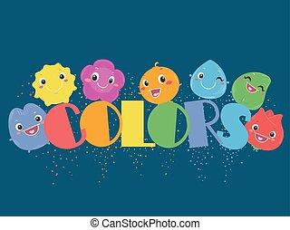 szín, szivárvány, betűk, ábra