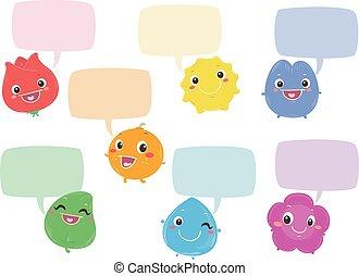 szín, szivárvány, panama, beszéd, betűk