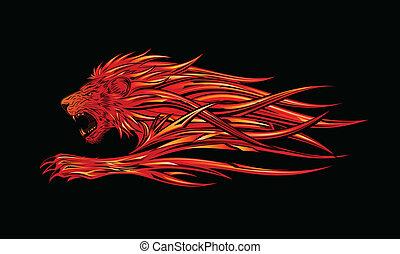 szín, tetovál, oroszlán, lejtő