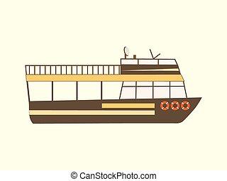 szín, utazás, retro, csónakázik