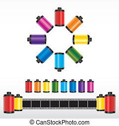 szín, vektor, film mez