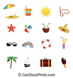 szín, vektor, tengerpart, ábra, ikon
