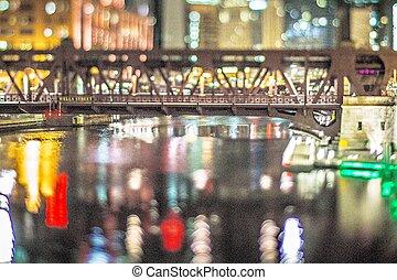 színek, mindenfelé, város, közül, chicago, illinois, éjjel