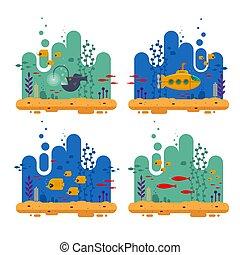 színes, élet, kék, -, hínár, vektor, korall, fish, tengeri, repülő, ábra, mélytengeri búvárgömb, víz alatti, tengeralattjáró, periszkóp, lakás, horgász, óceán, poszter, transzparens, parkosít., falka, concept., sablon, vagy, fedő, sárga, fish
