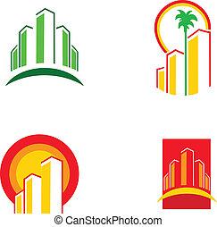 színes, épület, ábra, vektor, -1, ikonok