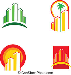 színes, épület, ikonok, vektor, ábra, -1