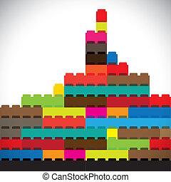 színes, épületek, közül, fővárosi, város égvonal, épít,...