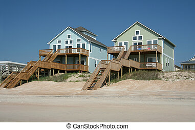 színes, óceán eleje, tengerpart épület