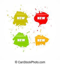 színes, ügy, cím, ikonok, vektor, új