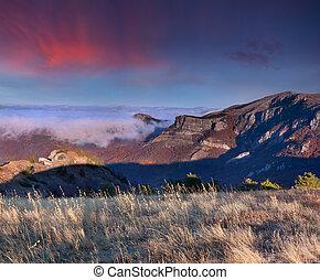 színes, ősz parkosít, alatt, a, hegy., napkelte