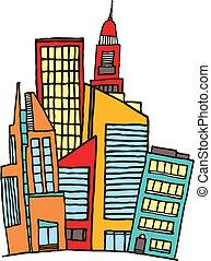 színes, belvárosi, /, vektor, város
