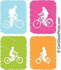 színes, biciklisták, ikonok, állhatatos