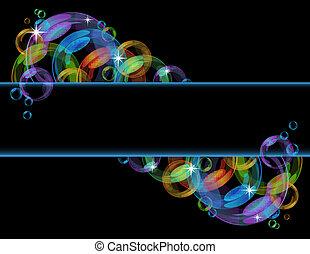 színes, buborék, vektor, háttér