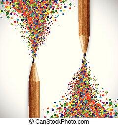 színes, ceruza, vektor