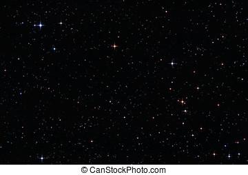 színes, csillaggal díszít, alatt, a, éjszaka ég